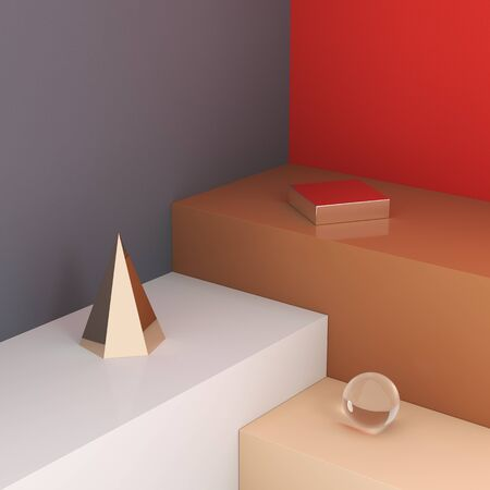Stand for product, pedestal with trend shape and color, 3D illustration, rendering. Banque d'images