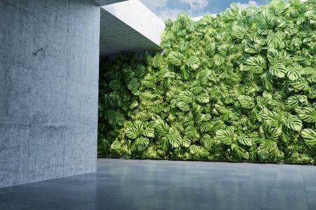 Vertical garden wall, green plants decoration in urban architecture, 3D illustration, rendering.