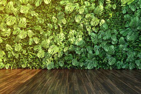 Vertical garden wall, green plants decoration, 3D illustration, rendering. Banque d'images