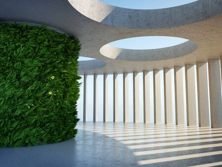Architectural design of modern concrete hall with panoramic window and vertical gardens, 3D illustration, rendering.