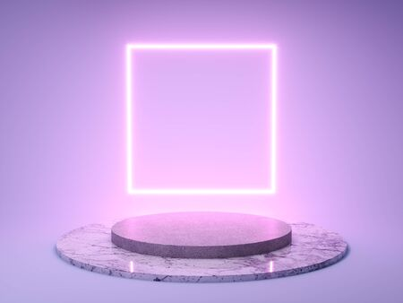Stand for product with frame of neon light, 3D illustration, rendering. Banque d'images