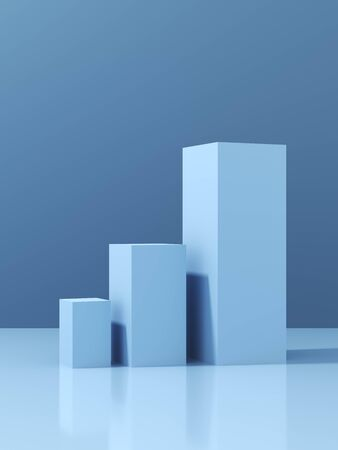 Stand for product, podium for demonstration, blue colors, 3D illustration, rendering.