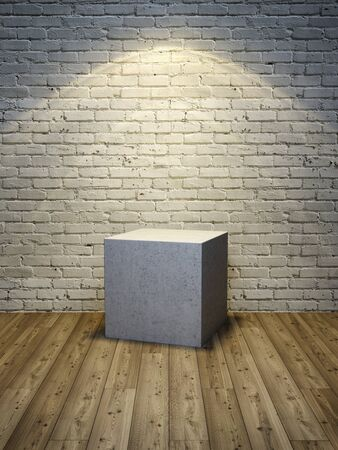 Stand for product, concrete cube on wooden floor and brick wall, 3D illustration, rendering.