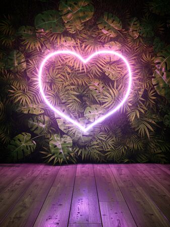 Neon glowing heart on green vertical garden, 3D illustration, rendering.