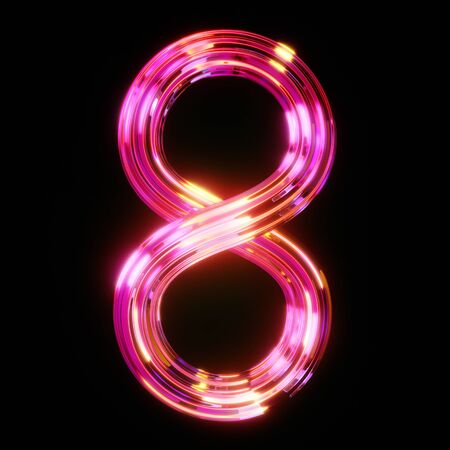 Chromed abstract number eight in neon light with reflections of pink and blue on black background, 3D illustration, rendering.