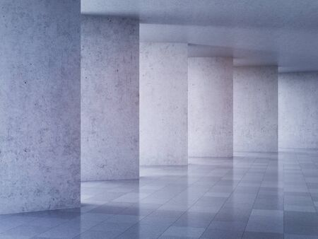 Architectural design of modern concrete hall, 3D illustration, rendering.