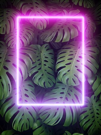 Vertical garden of palm leaves and neon frame on green background, 3D illustration, rendering.