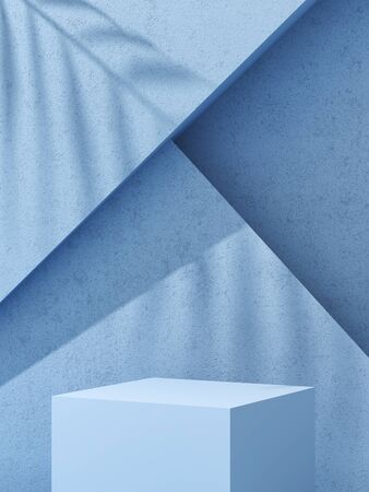 Stand for product, podium on abstract geometry background, blue colors, 3D illustration, rendering. Banque d'images