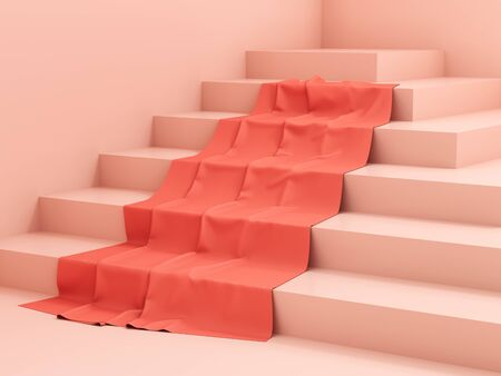 Stand for product, steps with fabric, pink colors, 3D illustration, rendering. Banque d'images