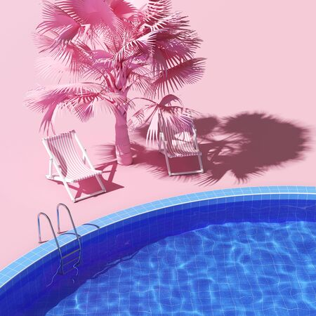 Swimming pool with lounge chairs and palm in pink style, time relax, 3D illustration, rendering.
