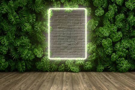 Vertical garden of palm leaves, neon frame on brick wall, 3D illustration, rendering.