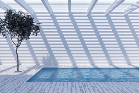 Rooftop swimming pool with garden, creative concept, 3D illustration, rendering. Banque d'images