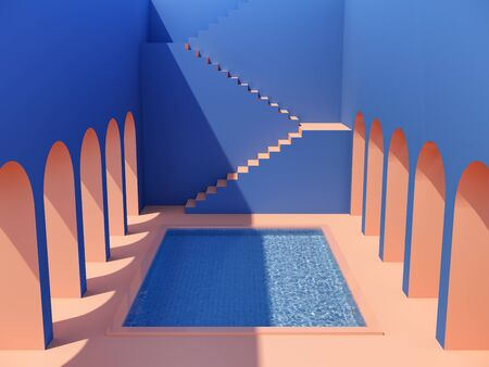 Swimming pool in hall with columns and staircase, orange and blue colors, conceptual art, 3D illustration, rendering. Banque d'images