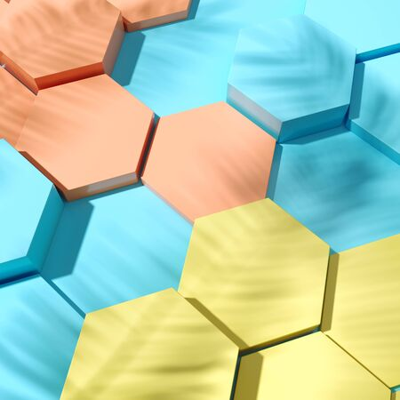 Hexagonal cells product demonstration template top view, 3D illustration, rendering. Banque d'images