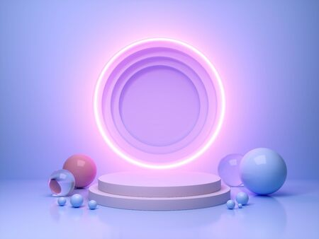 Stand for product in ring of neon light, 3D illustration, rendering. 版權商用圖片