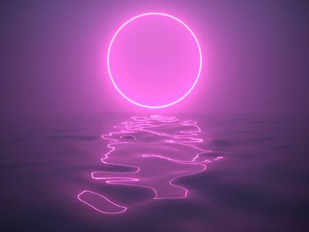 Neon sign in fog above water, night scene, 3D illustration, rendering. 版權商用圖片