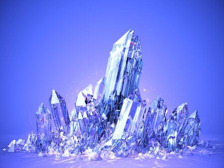 Beautiful shining bright quartz crystal macro on blue background, 3D illustration, rendering.