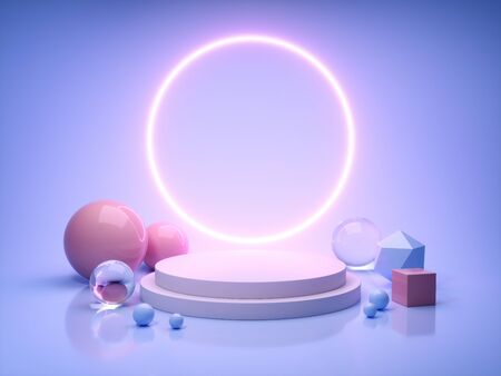 Stand for product in ring of neon light, 3D illustration, rendering. Banque d'images