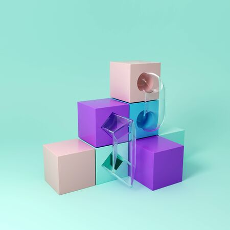 Cubes and steps for product demonstration, conceptual art, 3D illustration, rendering. Banque d'images