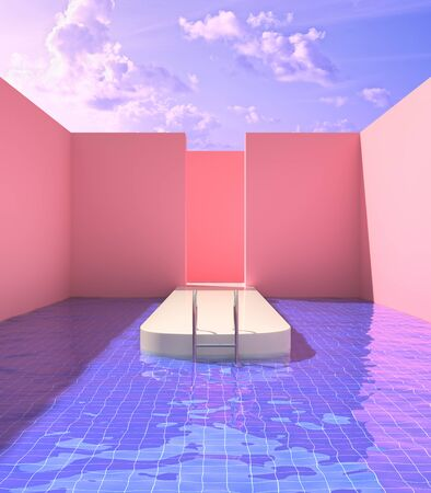 Podiums for demonstration in pool of purple water, pink colors, conceptual art, 3D illustration, rendering.