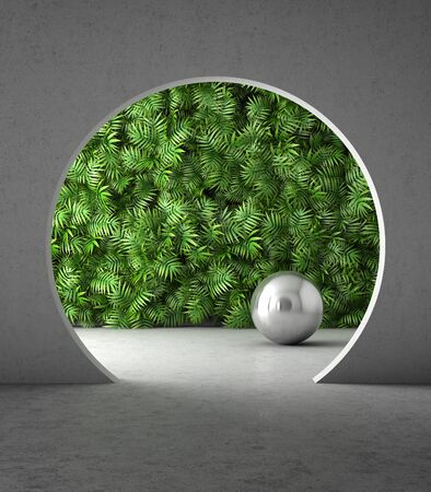 Room interior in modern style with decorative wall, vertical garden, concrete structure, 3D illustration, rendering.