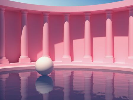 Swimming pool in hall with columns, conceptual art in bright colors, 3D illustration, rendering.