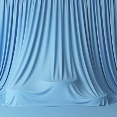 Blue curtains cover podium, product stand for demonstration, 3D illustration, rendering. Banque d'images