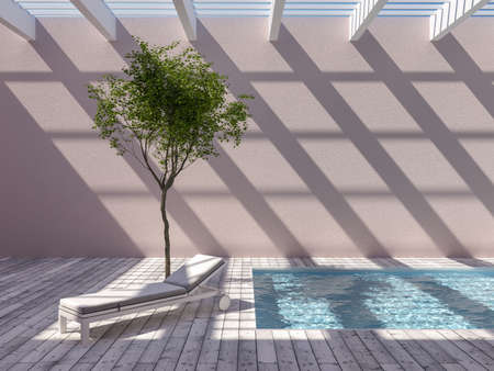 Rooftop swimming pool with tree and lounger, creative concept, 3D illustration, rendering.