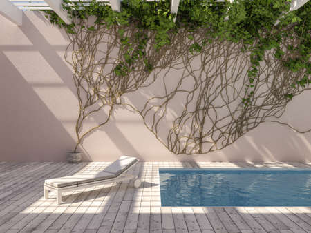 Rooftop swimming pool with wall climbing plant and lounger, creative concept, 3D illustration, rendering. Banque d'images