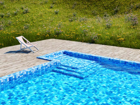 Swimming pool with wooden floor and deck chair in meadow with flowers, 3D illustration, rendering.