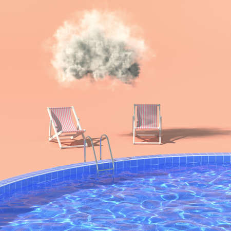 Swimming pool with lounge chairs and cloud, time relax, 3D illustration, rendering.