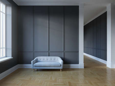 Classic room interior with sofa and dark walls with light parquet, 3D illustration, rendering. Banque d'images