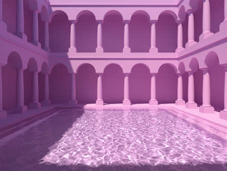Courtyard with columns and swimming pool, pink colors, conceptual art, 3D illustration, rendering. Banque d'images