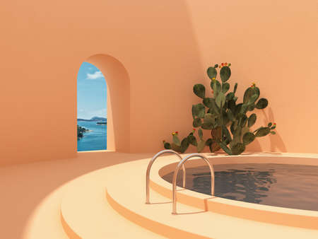 Swimming pool in hall with window and cactus, conceptual art in bright colors, 3D illustration, rendering. Banque d'images