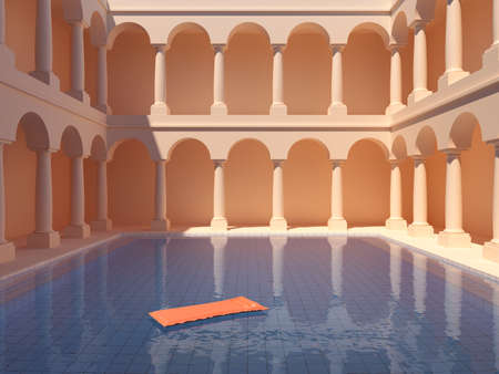 Courtyard with columns and swimming pool, conceptual art, 3D illustration, rendering.