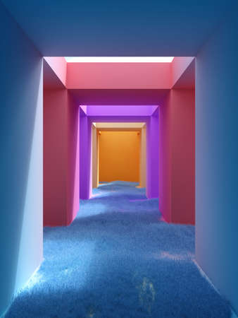 Tunnel in abstract view with walls in bright colors and grass, conceptual art, 3D illustration, rendering.