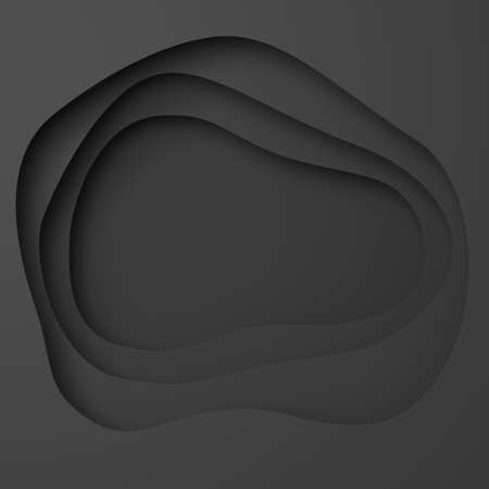 Abstract black background with curved circles and layers with volumetric shadow, 3D illustration, rendering. Banque d'images