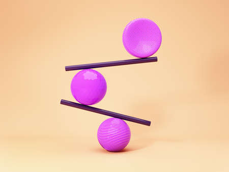 Balancing balls, creative concept, bright colours, 3D illustration, rendering. Banque d'images
