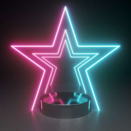 Product stand in shining neon star light and black background, 3D illustration, rendering. Banque d'images
