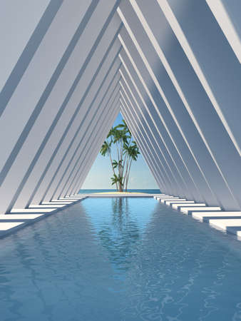 Swimming pool in hall with columns, conceptual art, 3D illustration, rendering.