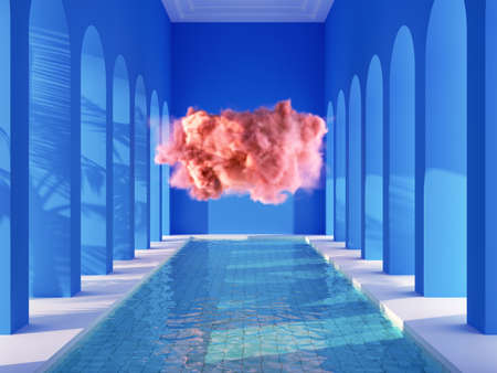 Swimming pool in hall with columns and pink cloud, conceptual art, 3D illustration, rendering. Banque d'images
