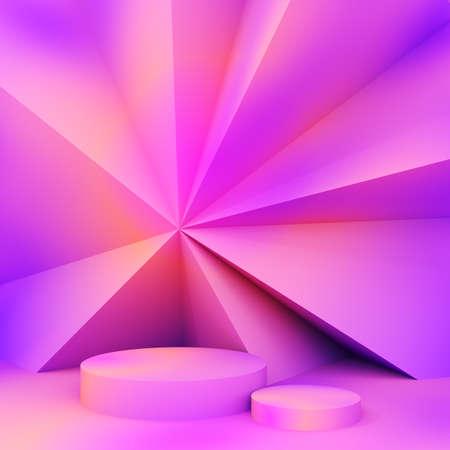 Stand for product in neon lighting, 3D illustration, rendering. 版權商用圖片
