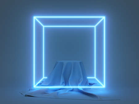 Product stand with fabric on podium and glowing neon cube, 3D illustration, rendering. 版權商用圖片