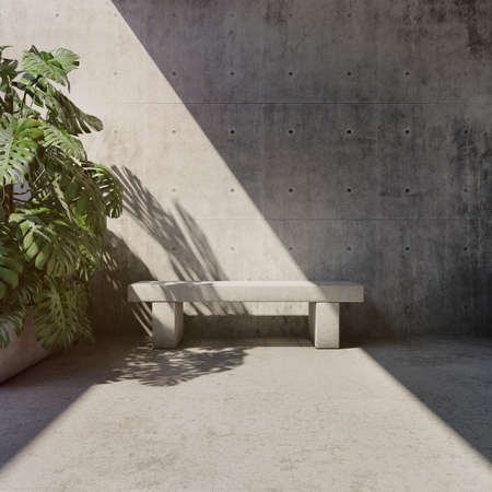 Room with concrete walls, green plants and bench, minimalistic style, 3D illustration, rendering.