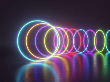 Bright neon rings on dirty surface, reflection creates wet effect, 3D illustration, rendering.