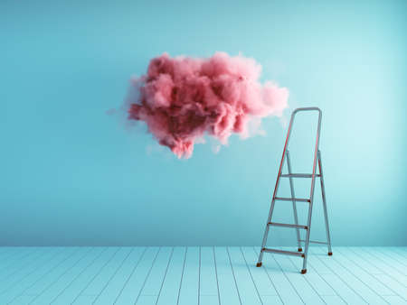 Pink fluffy cloud and ladder in blue room with wooden floor, conceptual art, 3D illustration, rendering.