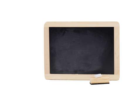 chalk eraser: A clean, wooden chalkboard with a piece of white chalk and one eraser.