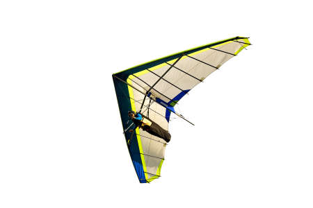 currents: hang glider in soaring flight off lookout mountain,isolated on white.  A glider in flight is continuously descending. the pilot must seek air currents rising Stock Photo