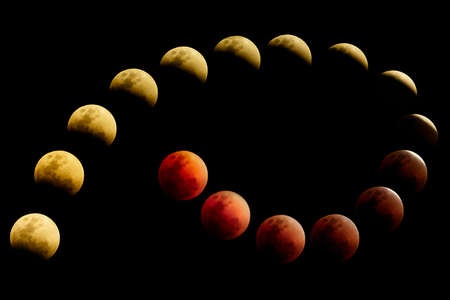 Super blue blood moon, Evolution of Lunar eclipse appearance by rearranged photo in order to see the development of lunar eclipse from full moon, a partial lunar eclipse to reddish color blood moon