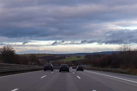 German broad eight lane highways without speed limits low angle shot Фото со стока